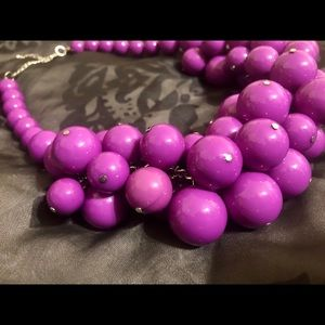 Jewelry - Chunky Purple Statement Necklace Beads Clemson